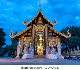 Chiangmai, Thailand - Sep 28, 2018 : Wat Inthakhin Sadue Muang Small Buddhist temple with traditional Lanna architecture, once the site of the sacred city pillar.