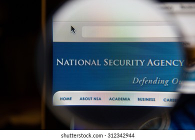 CHIANGMAI, THAILAND - September 1, 2015:Photo of the nsa national security agency page on a monitor screen through a magnifying glass.