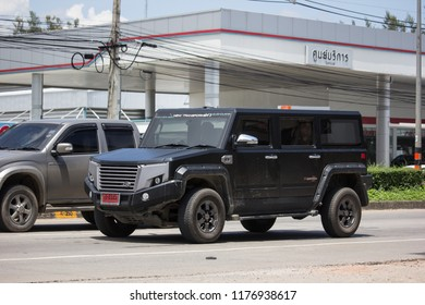 Chiangmai, Thailand - September 11 2018: Thairung tranformer, Sports Utility Vehicle design and build by thairung company. engine use toyota. Photo at road no.121 , 8 km from city Chiangmai, thailand.