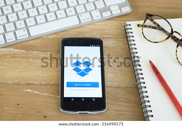CHIANGMAI, THAILAND -September 14, 2015:LG Nexus5 opened to Dropbox app. Dropbox is a free service that lets bring all photos, docs, and videos anywhere.
