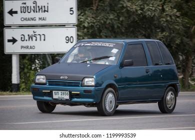 Chiangmai, Thailand - September 17 2018: Private Small city car, Daihatsu Mira. Photo at road no 121 about 8 km from downtown Chiangmai, thailand.