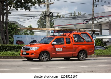 Chiangmai, Thailand - September 20 2018:  Pickup truck of CAT Telecom Public Company Limited. Internet and Telephone Service in Thailand.