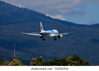 CHIANGMAI THAILAND - SEPTEMBER 2017 Bangkok Airways airplane landing at Chiangmai international airport in Morning day on September 20,2017 in Chiangmai Thailand