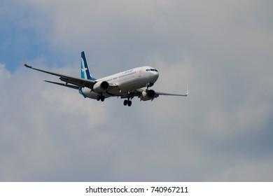 CHIANGMAI THAILAND - SEPTEMBER 2017 Silk Air airplane landing at Chiangmai international airport in Morning day on October 20,2017 in Chiangmai Thailand