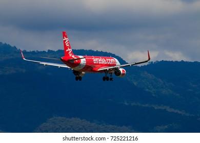 CHIANGMAI THAILAND - SEPTEMBER 2017 Thai Airasia airplane landing at Chiangmai international airport in Morning day on September 20,2017 in Chiangmai Thailand