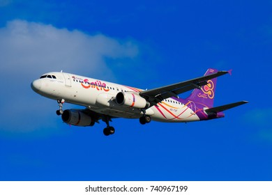 CHIANGMAI THAILAND - SEPTEMBER 2017 Thai Airways airplane landing at Chiangmai international airport in Afternoon day on October 20,2017 in Chiangmai Thailand