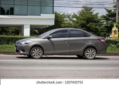 Chiangmai, Thailand - September 24 2018: Private Sedan car Toyota Vios. On road no.1001 8 km from Chiangmai Business Area.