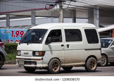 Chiangmai, Thailand - September 24 2018: Private Daihatsu old Van Car. On road no.1001, 8 km from Chiangmai city.