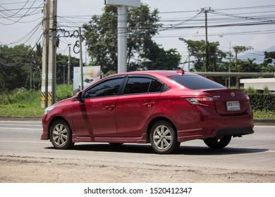 Chiangmai, Thailand - September 24 2019: Private Sedan car Toyota Vios. On road no.1001 8 km from Chiangmai Business Area.