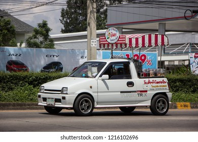 Chiangmai, Thailand - September 25 2018: Coconut Icecream shop on Daihatsu Mira Mini Truck. Photo at North Highway road of chiangmai city.