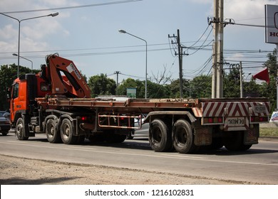 Chiangmai, Thailand - September 27 2018: Truck of Provincial eletricity Authority of Thailand. Photo at road no.1001 about 8 km from downtown Chiangmai, Thailand.