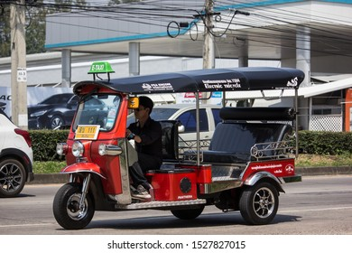 Chiangmai, Thailand - September 30 2019: Tuk tuk E  taxi chiangmai Service in city and around. Photo at road no.121 about 8 km from downtown Chiangmai thailand.