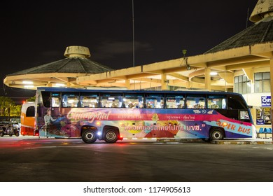 Chiangmai, Thailand - September 4 2018:  Volvo  bus of Transport government company. 15 Meter Bus. Photo at Chiangmai bus station.