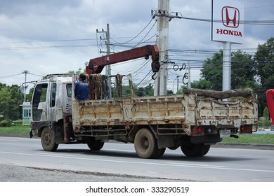 CHIANGMAI, THAILAND -SEPTEMBER  7 2015:  Private Truck with crane. Photo at road no.121 about 8 km from downtown Chiangmai, thailand.