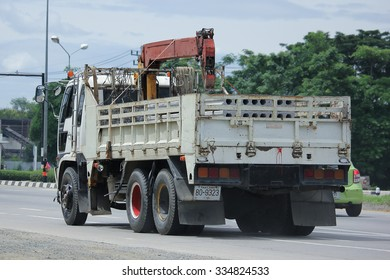 CHIANGMAI, THAILAND -SEPTEMBER  8 2015:  Private Isuzu Cargo truck. Photo at road no.121 about 8 km from downtown Chiangmai, thailand.