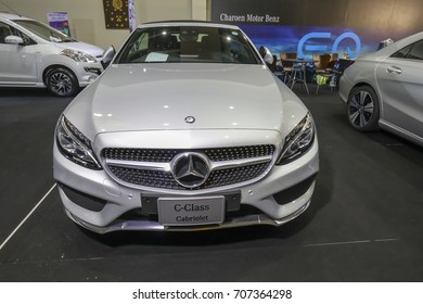 CHIANGMAI THAILAND-AUGUST 19, 2017:Mercedes Benz  model C-Class Cabriolet , Mid Year Sale Motors Chiangmai  at Chiang Mai International Exhibition and Convention Centre