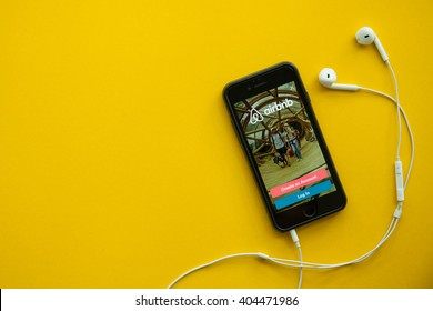 CHIANGMAI,THAILAND - Apirl 12, 2016: Photo of iPhone device with a Airbnb search app running