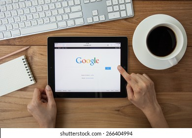CHIANGMAI,THAILAND - APRIL 4, 2015: Google is an American multinational corporation specializing in Internet-related services and products. Most of its profits are derived from AdWords.