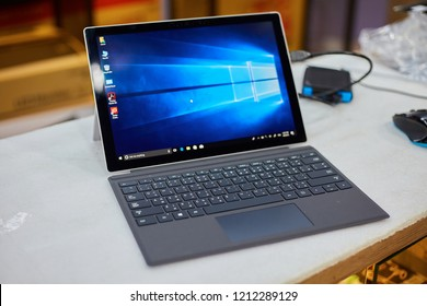 CHIANGMAI,THAILAND- APRIL 8,2018:Close up of New Surface pro 4 core i5 cpu processor with Microsoft screen on white table at it shop in Chiangmai Thailand.