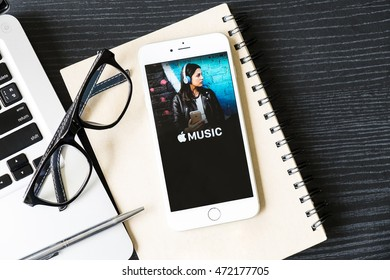 CHIANGMAI,THAILAND - AUG 9 ,2016:A Apple music app showing on iPhone 6s plus. Apple Music is the new iTunes-based music streaming service that arrived on iPhone.