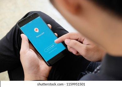 CHIANGMAI,THAILAND - August 20,2018 : New Samsung galaxy s8 plus on hands open Periscope app . Periscope is made by Twitter - lets you broadcast live video to the world.