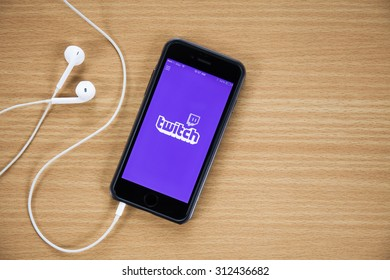 """CHIANGMAI,THAILAND August 31 , 2015: the logo of the brand """"Twitch"""""""
