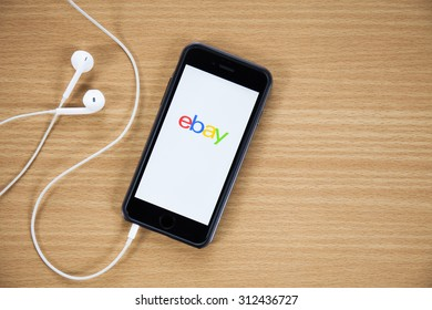 CHIANGMAI,THAILAND - AUGUST 31, 2015:iPhone opened to Ebay homepage. Ebay, an online auction and shopping site, was founded in 1995.