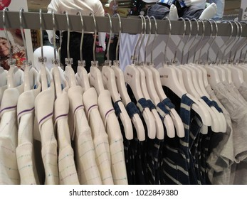 CHIANGMAI,THAILAND - DECEMBER 15, 2017: Beautiful Clothes for kids on hangers, sold in the shop at Central airport in Chiangmai Thailand