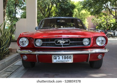 CHIANGMAI,THAILAND, DECEMBER 4,2016: A classic Ford Mustang Ford mustang is one of the most famous cars in the USA, and is an icon of muscle cars in the world.