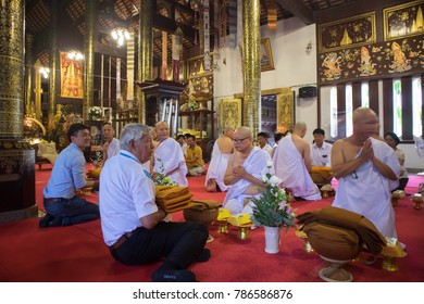 Chiangmai-Thailand. December,09,2017. Ordination ceremony at Wat Phadarabhirom Buddhist Temple in Chiang Mai Thailand.