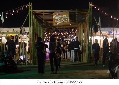 Chiangmai-Thailand. December,29,2017. Entrances Pingfai Festival by Fin Market.