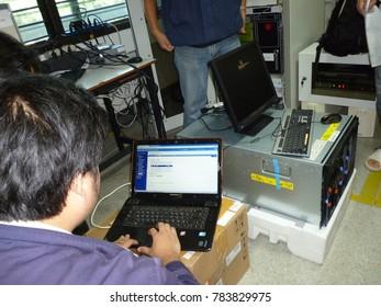 Chiangmai-Thailand. December,29,2017.  Install Blade Server in Server room at Rajanagarin Child Development Institute.