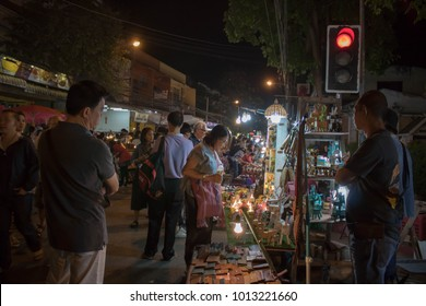 Chiangmai-Thailand. January,27, 2018. Tourists traveling at thapae walking street in Chiang Mai, Thailand.