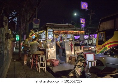 Chiangmai-Thailand. January,28,2018. AT ONE NIMMAN PARK, people are sitting at food on walkway street.
