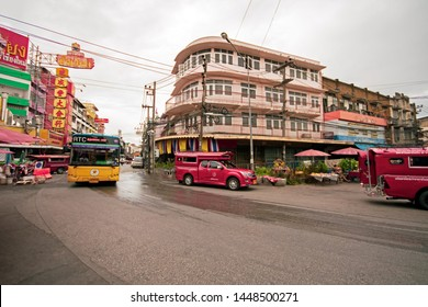 CHIANGMAI,THAILAND - July 10, 2019  Chiangmai Smart Bus transportation from Airport go to Warorot Market,and Kad Luang chiangmai-night-bazaar is the one of Chiang Mai's largest market.