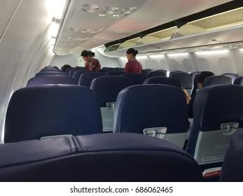 Chiangmai-Thailand. July 29,2107. Captain onboard service on the SL513, ThaiLionair at Chaingmai international airport.
