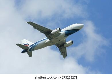 CHIANGMAI,THAILAND- JUNE 20 2009: HS-PGT Airbus A319-100 of  Bangkokairway. Takeoff from  Chiangmai airport to Bangkok Suvarnabhumi, thailand.