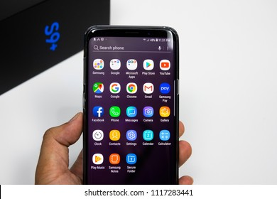 CHIANGMAI,THAILAND - JUNE 2,2018 : A newely launched Samsung Galaxy S9 Plus smartphone is displayed for editorial purposes.