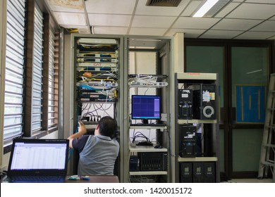 Chiangmai-Thailand. June,08,06,2019. Engineer with toolboxs come to server room for work,check problem of network,repair server in the server room,thailand people,asian man.