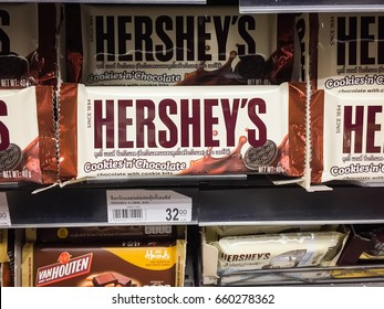 Chiangmai,Thailand. May 08, 2017: Hershey's on shelf in supermarket. Hershey's bar of chocolate. Hershey's is the largest chocolate manufacturer in North America.