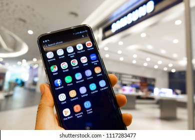 CHIANGMAI,THAILAND - MAY 30,2018 : A newely launched Samsung Galaxy S9 Plus smartphone is displayed for editorial purposes.
