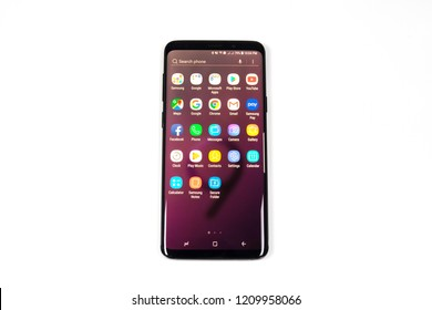 CHIANGMAI,THAILAND - OCT 17,2018 : A newely launched Samsung Galaxy S9 Plus smartphone is displayed for editorial purposes.