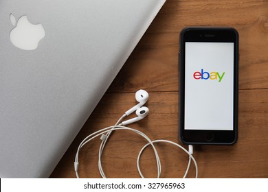 CHIANGMAI,THAILAND - OCTOBER 10, 2015:iPhone opened to Ebay homepage. Ebay, an online auction and shopping site, was founded in 1995.