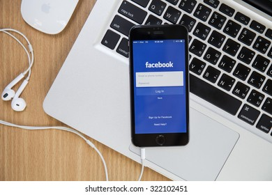 CHIANGMAI,THAILAND - SEPTEMBER 30, 2015:Facebook is an online social networking service founded in February 2004 by Mark Zuckerberg with his college roommates and is now a fortune 500 company.