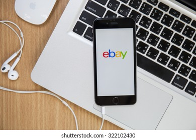 CHIANGMAI,THAILAND - SEPTEMBER 30, 2015:iPhone opened to Ebay homepage. Ebay, an online auction and shopping site, was founded in 1995.