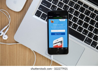 CHIANGMAI,THAILAND - SEPTEMBER 30, 2015:Photo of Firefox mozilla homepage on a iphone screen.