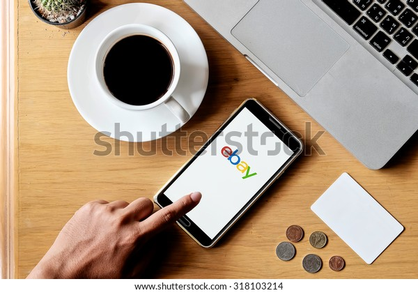 CHIANGMAI,THAILAND - SPE 19, 2015: samsung opened to Ebay homepage. Ebay, an online auction and shopping site, was founded in 1995.