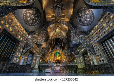 Chiangmai,THAILAND-8 November 2018 Silhouette of the silver chapel of Si Supan temple that looks amazing,is a beautiful silver chapel and built in the Thai temple of Chiang Mai.concept of faith in God