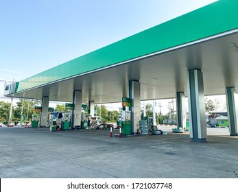 Chiangmai,Thailand-April 28, 2020 : PT oil service station in Thailand, Fueling and gas locations for motorbikes and cars, Engine resting stations for long-distance vehicles, oil station.