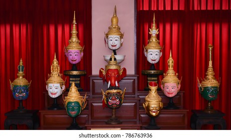 Chiangmai,THAILAND-January 4,2018 :Thai ancient traditional Ganesha God of Success and Ramanaya Khon mask .Ganesha,at Ganesh House Museum in Chiangmai Province,Thailand.
